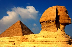 The Sphinx and pyramid at Giza.  Taken in the winter of 2008.