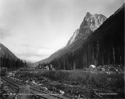 A historical shot of Rogers Pass. Image from wikipedia.