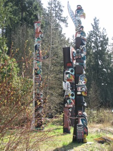 Totem poles from Stanley Park. Taken in 2013.