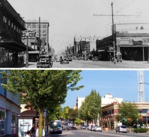 Shots of Columbia Street in 1932 and 2008.