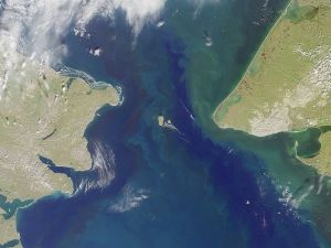 A satellite image of the Bering Strait.