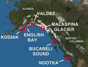 Areas of the Pacific Northwest explored by Spain.
