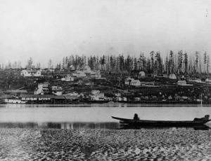 The View of New Westminster from the Fraser River, 1865.