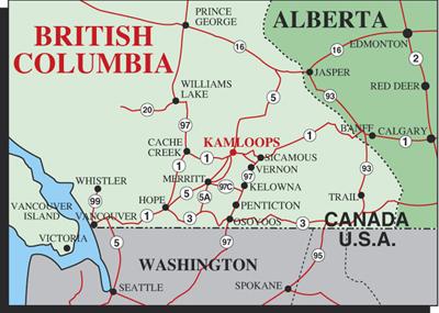 Map Of Canada Showing Kamloops.10 Facts Kamloops B C Belowbc