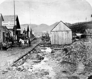 The town of Barkerville, taken in 1865.