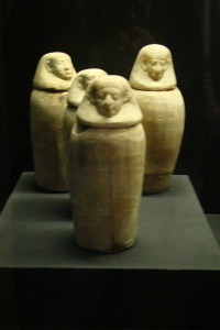 Canoptic Jars on display at the Egyptian Museum of Saqqara. Photo taken in December 2008.