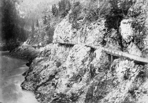 The Cariboo Road, going through the Fraser Canyon. Photo taken in 1867.