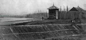 Fort Langley as it looked in 1862. Image from www.fortlangley.ca.