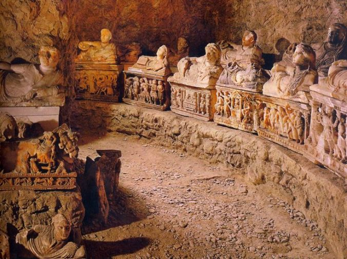 An Etruscan tomb belonging to a large family. Make a note, I will expect nothing less from my own funerary arrangement.  Iamge from Pinterest: http://www.pinterest.com/pin/105623553736575352/