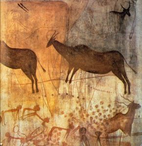 The prehistoric cave paintings at Altamira which date to approximately 35000 years ago.  Image from Pinterest: http://www.pinterest.com/pin/35747390767993552/