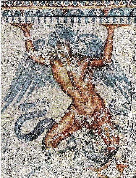 A mural of the god Typhon from Tuscany, Italy.  Image from Pinterest: http://www.pinterest.com/pin/71987294019683127/