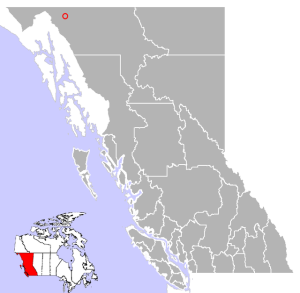 The location of Atlin, way up in the top left corner of the map.