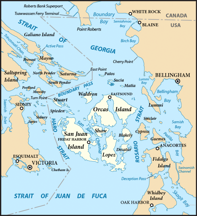 A map of the area where the San Juan Islands sit between Vancouver Island and Mainland North America.